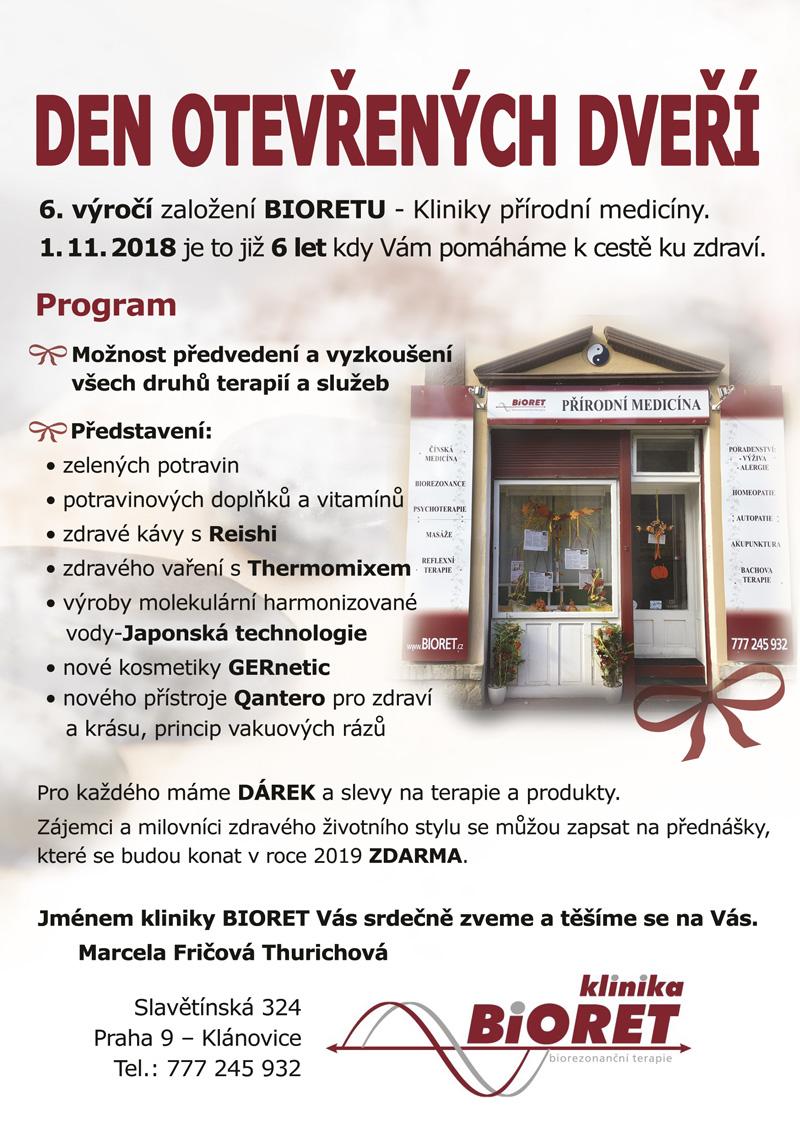 Bioret den otevřených dveří - centrum celostní medicíny Praha Klánovice